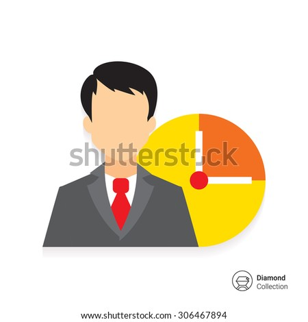 Icon of businessman and clock face - stock vector