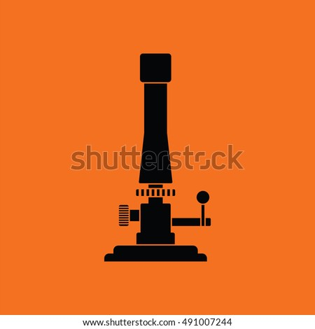 Icon of chemistry burner. Orange background with black. Vector illustration.