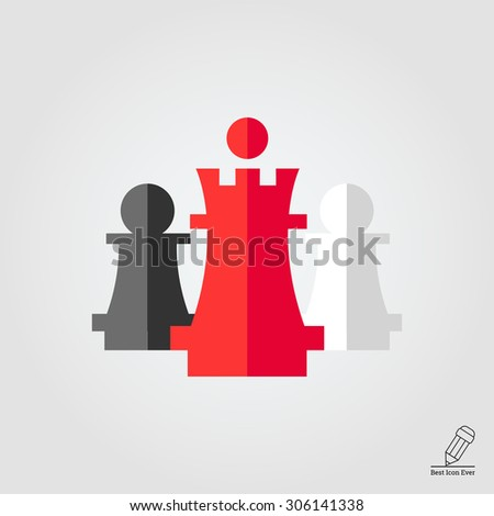 Icon of chess king and pawns - stock vector