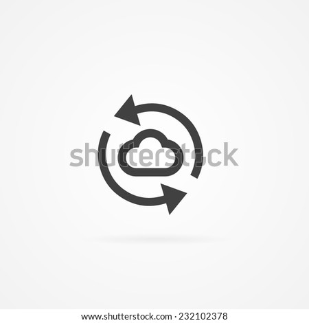 Icon of cloud refresh. Cloud and arrows. Shadow and white background. - stock vector