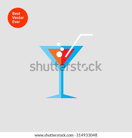 Icon of cocktail glass with straw and fizzy drink