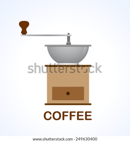 Icon of coffee grinder. Design element for menu cafe, bar, restaurant. - stock vector