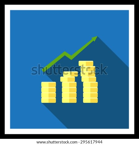 Icon of coin stacks and growing graph - stock vector