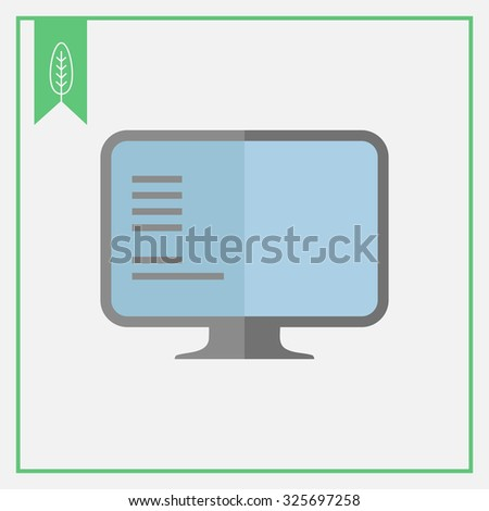 Icon of computer monitor with text on screen