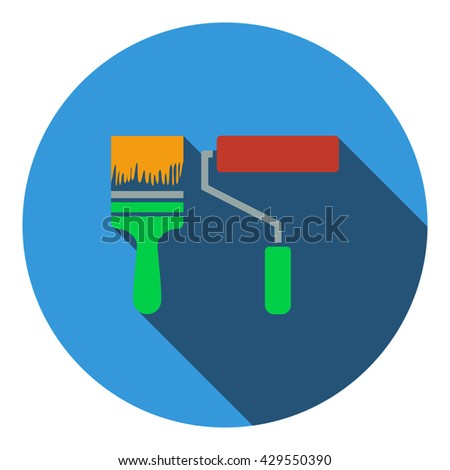 Icon of construction paint brushes. Flat design. Vector illustration. - stock vector