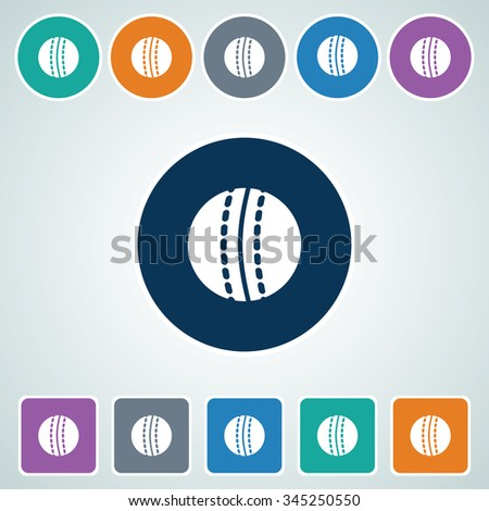 Icon of Cricket Ball in Multi Color Circle & Square Shape. Eps-10. - stock vector