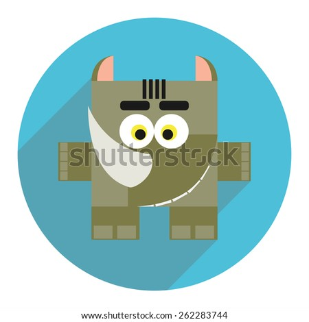 Icon of cute rhino. - stock vector