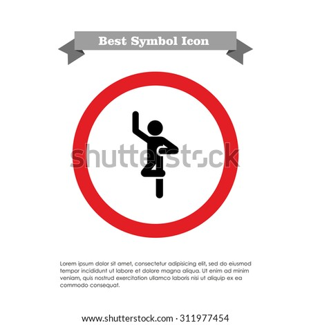 Icon of dancing man silhouette - stock vector