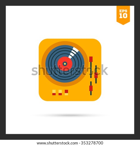 Icon of deejay vinyl record player - stock vector