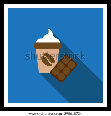 Icon of disposable coffee cup with whipped cream and coffee bean picture and chocolate bar - stock vector
