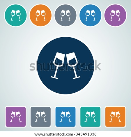 Icon of Drink Glass in Multi Color Circle & Square Shape. Eps-10. - stock vector