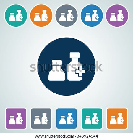 Icon of Drug Bottle in Multi Color Circle & Square Shape. Eps-10. - stock vector