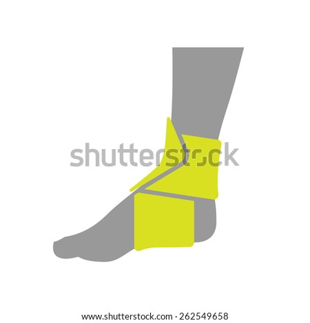 Icon of Elastic Orthopedic Compression Bandage for Ankle Isolated on White Background. Vector Illustration - stock vector