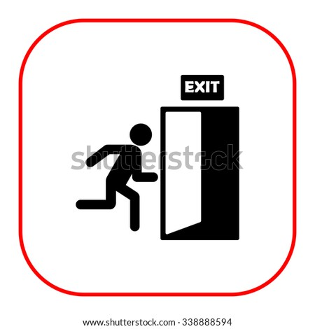 Icon of exit sign with man figure running to doorway