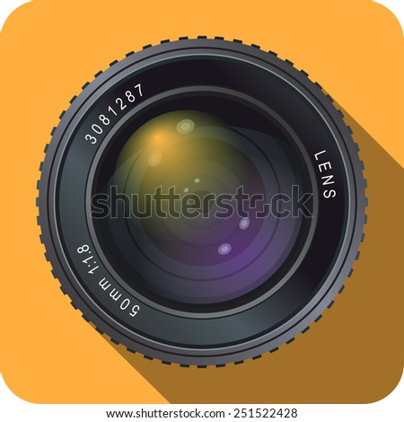 Icon of fifty millimeter camera lens on orange background. - stock vector