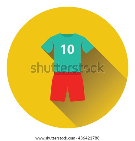 Icon of football uniform. Flat color design. Vector illustration. - stock vector