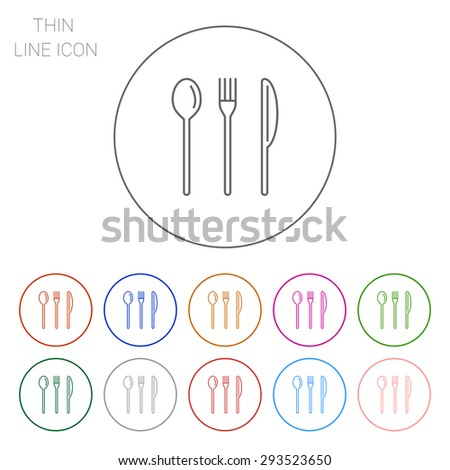 Icon of fork, knife and spoon - stock vector