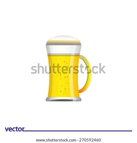 Icon of glass of beer. Isolated on white background. Modern vector illustration for web and mobile. - stock vector