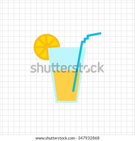 Icon of glass with drink, straw and citrus slice
