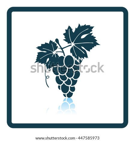 Icon of Grape. Shadow reflection design. Vector illustration.