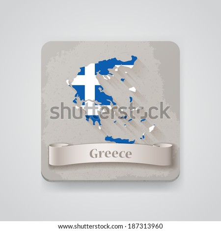 Icon of Greece map with flag. Vector illustration - stock vector