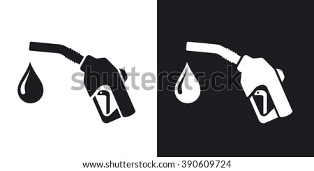 Icon of gun for fuel pump with a drop of fuel, stock vector. Two-tone version on black and white background