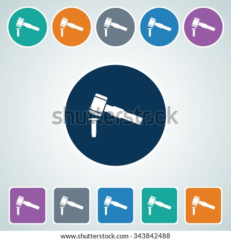 Icon of Hammer & Chisel in Multi Color Circle & Square Shape. Eps-10.