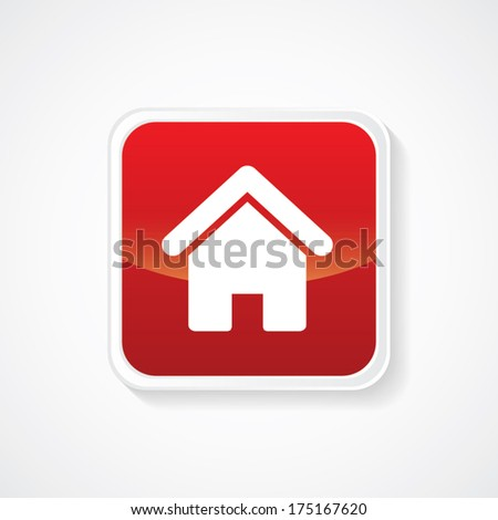 Icon of Home on Red Glossy Button. Eps-10 - stock vector