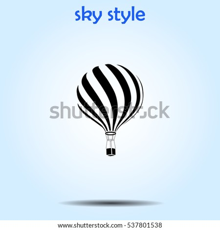 Icon of hot air balloon on gray background. All elements hot air balloon for web design and decoration of greeting cards. Vector.