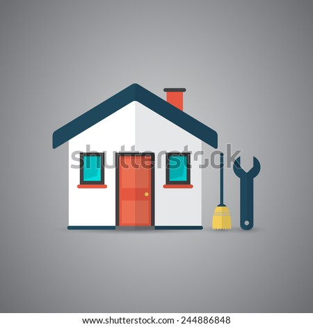 Icon of house with broom and spanner in vector - stock vector