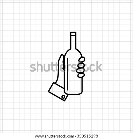 Icon of human hand holding bottle - stock vector