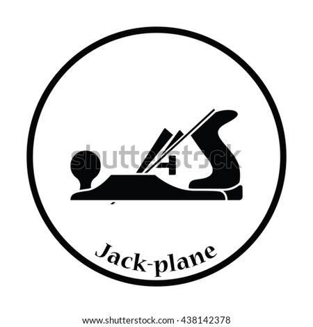Icon of jack-plane. Thin circle design. Vector illustration. - stock vector