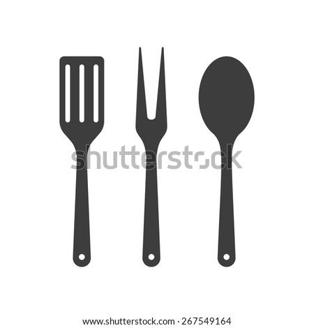 Icon of kitchen tools. Fork, spoon and fry utensil
