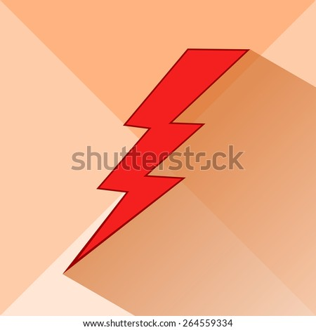 Icon of lightning on a light background. Meteorology, storm. Vector illustration. - stock vector