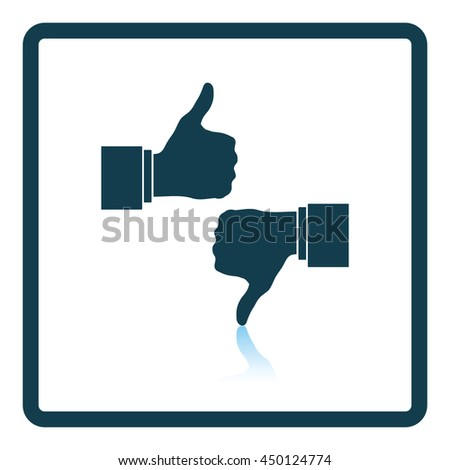 Icon of Like and dislike. Shadow reflection design. Vector illustration.