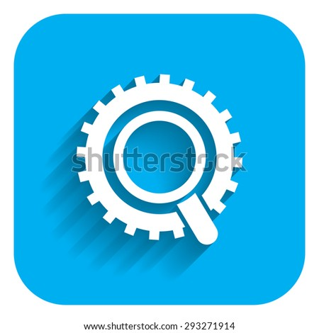 Icon of magnifier and gear wheel - stock vector