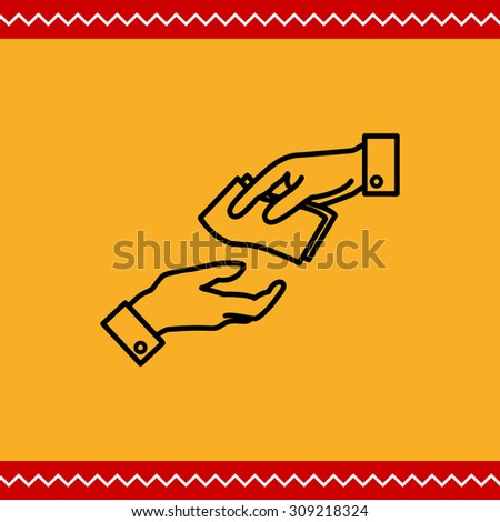 Icon of man hand giving banknotes to another man hand - stock vector