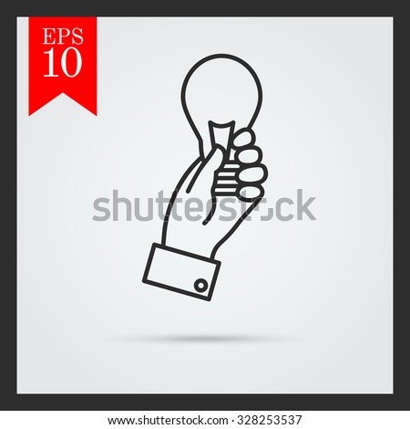 Icon of man hand holding lightbulb