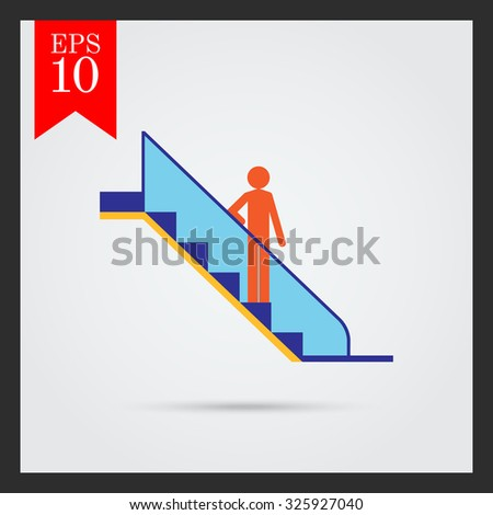 Icon of man's silhouette standing on escalator