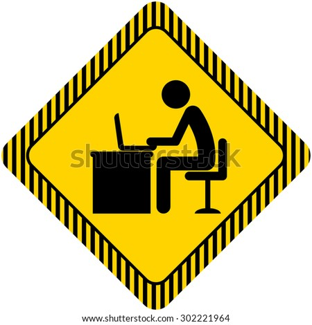 Icon of man's silhouette working on laptop - stock vector