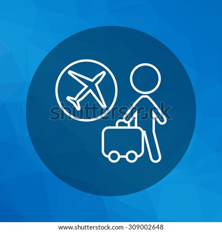 Icon of man silhouette carrying suitcase and airplane emblem in circle - stock vector