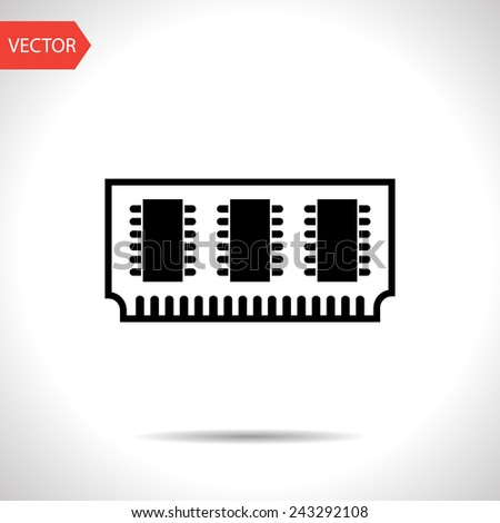 icon of memory chips - stock vector