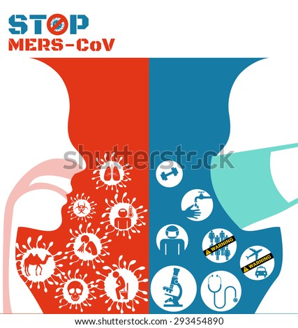 Icon of Mers virus and respiratory pathogens of human  - stock vector