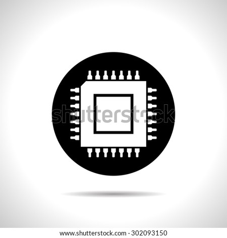 icon of microchip - stock vector
