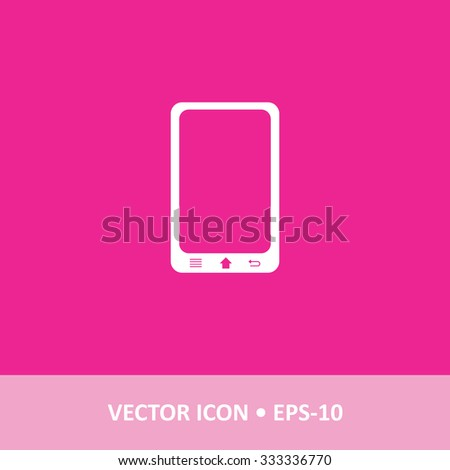 Icon of Mobile Phone on Magenta Color Background. Eps-10. - stock vector