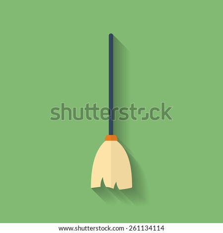 Icon of Mop or Broom. Flat style - stock vector