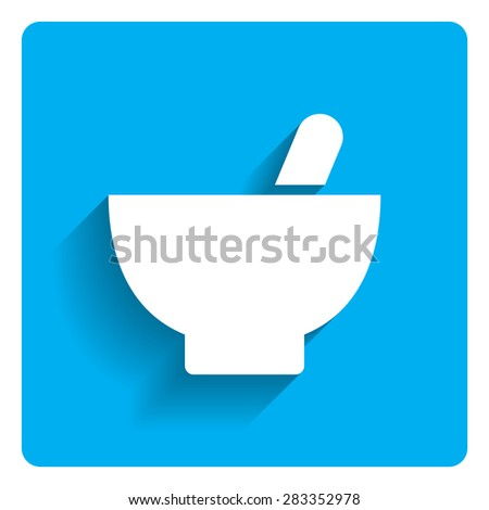 Icon of mortar and pestle on bright blue background - stock vector