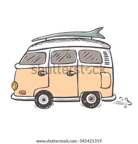 icon old style minivan riding thorough stock vector