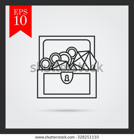 Icon of open treasure chest with diamonds and gold - stock vector