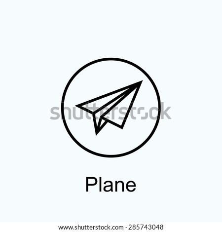icon of paper plane in round frame - stock vector